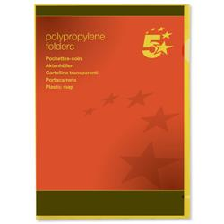 5 Star Office Folder Cut Flush Polypropylene Copy-safe Translucent 120 Micron A4 Yellow [Pack 25]