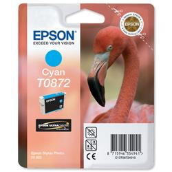 Epson T0872 Inkjet Cartridge UltraChrome Hi-Gloss2 Flamingo Page Life 650pp Cyan Ref C13T08724010