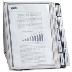 Durable Display Wall Unit Complete 10 Index Tabs with 5 Black and 5 Grey Panels A4 Ref 5631/22