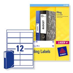 Avery L7176 60mm Box File Laser Labels 41x100mm Ref L7176-25 - Pack 300