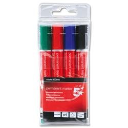 5 Star Office Permanent Marker Xylene/Toluene-free Smearproof Bullet Tip 2mm Line Assorted [Wallet 4]