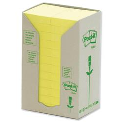 Post-it Notes Pads Recycled Unbleached in Carton Packaging 38x51mm Pastel Yellow Ref 653- 1T - Pack 24
