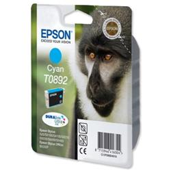 Epson T0892 Inkjet Cartridge DURABrite Monkey Page Life 170-270pp Cyan Ref C13T08924011