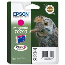 Epson T0793 Inkjet Cartridge Claria Owl 51g Page Life 685-745pp Magenta Ref C13T079340A0