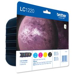 Brother Inkjet Cartridge Value Pack Page Life 1200pp Black/Cyan/Magenta/Yellow Ref LC1220VALBP - Pack 4