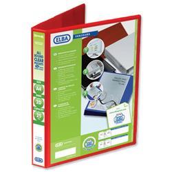 Elba Panorama Presentation Ring Binder PVC 2 D-Ring 25mm Capacity A4 Red Ref 400008676 [Pack 6]