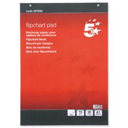 5 Star Office Meeting Flipchart Pad Perforated 20 Sheets A1 Plain [Pack 5]