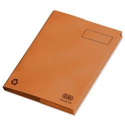 Elba Clifton Flat File with Back Pocket 285gsm Capacity 50mm Foolscap Orange Ref 100090321 [Pack 25]