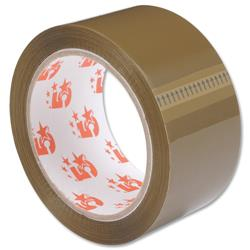 5 Star Office Packaging Tape Low Noise Polypropylene 50mm x 66m Buff [Pack 6]