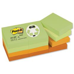 Post-it Notes Recycled 100 Sheets per Pad 38x51mm Pastel Rainbow Ref 653-1RP - Pack 12
