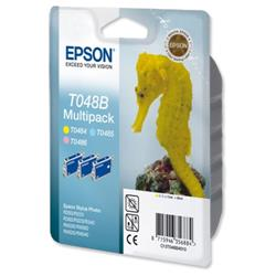 Epson T048B Colour Inkjet Cartridge (Seahorse) Ref C13T048B40 [Triple Pack]