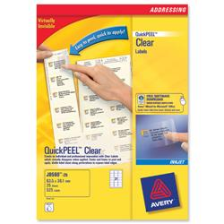 Avery J8551 Inkjet Mini Labels 38.1x21.2mm Clear Ref J8551-25 - Pack 1625