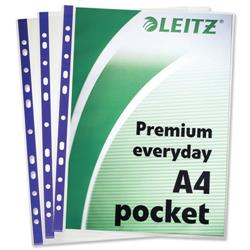 Leitz Premium Polished Presentation Pockets Top and Side-opening A4 Clear Ref 62011 [Pack 25]