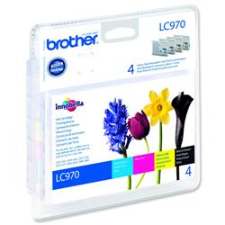 Brother Inkjet Cartridge Value Pack Page Life 1250pp Black/Cyan/Magenta/Yellow Ref LC970VALBP - Pack 4