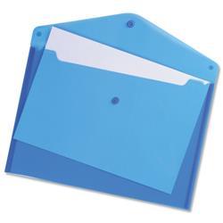 5 Star Office Envelope Stud Wallet Polypropylene A4 Translucent Blue [Pack 5]