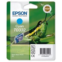 Epson T0332 Inkjet Cartridge Intellidge Grasshopper Page Life 440pp Cyan Ref C13T03324010