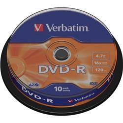 Verbatim 10PK 4.7GB 16X DVD-R Spindle Ref 43523