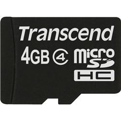 Transcend 4GB Micro SDHC Class 4 Card Ref TS4GUSDC4