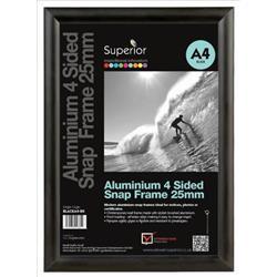 Snap Frame with Mounting Kit Aluminium Anti-glare PVC A2 Black