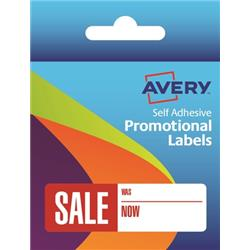 Avery Label Dispenser Pre-printed Labels with SALE Was Now Labels Ref 50-130 [250 Labels]
