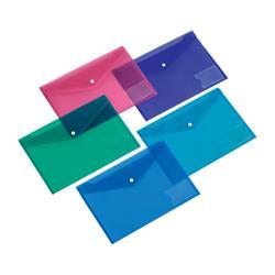 5 Star Office Envelope Stud Wallet with Card Holder Polypropylene A4 Assorted [Pack 5]