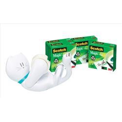 Scotch Magic Tape Cat Dispenser Plus 4 Scotch Magic Tapes 19mm x 33mm Ref C-39-EU-4