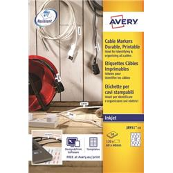 Avery Cable Markers Inkjet Tear-proof Foil Ref J8951-10 (120 Labels)