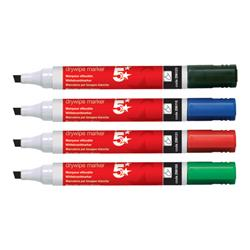 5 Star Office Drywipe Marker Xylene/Toluene-free Chisel Tip 2-5mm Line Assorted [Wallet 6]