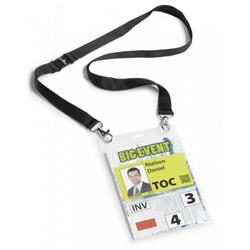 Durable Name Badge with Necklace A6 Black Ref 852501-126660 (Pack 10)