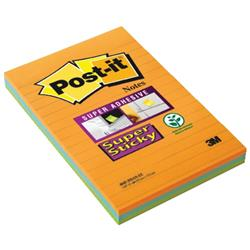 Post-it Super Sticky Notes Bangkok Ruled 90 Sheets 101x152mm Orange/Fuchsia/Blue Ref 4690-SS3BGK [Pack 3]