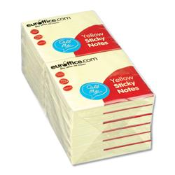 Euroffice Repositionable Sticky Notes 76x76mm 100 Sheets per Pad Yellow - Pack 12