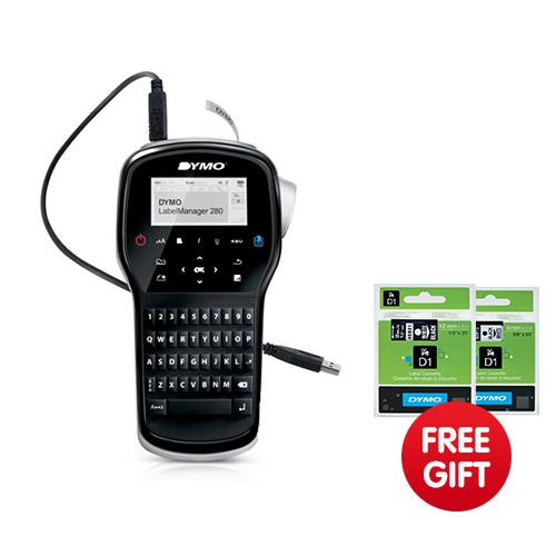dymo labelmanager 280 label maker qwerty one touch smart keys ref s0968960 free 2 dymo label. Black Bedroom Furniture Sets. Home Design Ideas
