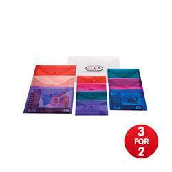 Elba Snap Wallet Polypropylene Integrated Stud Fastening A4 Translucent Assorted Ref 100081051 - [Pack 5] - 3 for 2