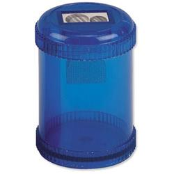 5 Star Office Pencil Sharpener Plastic Canister Max. Diameter 8mm Double Hole Coloured [Pack 10]