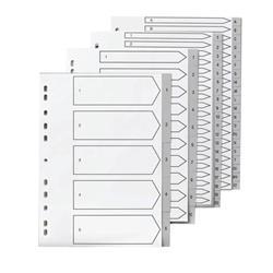 5 Star Elite File Index Grey Tabs Polypropylene 1-20 White