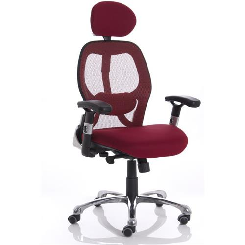 Sanderson Executive Chair Red Seat With Mesh Back With