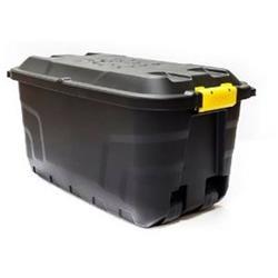 Strata Storage Trunk with Lid and Wheels 75Litres W420xD770xH400mm Heavy Duty Black Ref XW441-BLK/YEL-SP