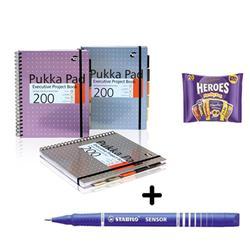 Pukka Pad Project Book A4 [Pack 3] & Stabilo Fineliner Pen Blue [Pack 10] - Bundle Offer + FREE Cadbury Heroes Bag 278g