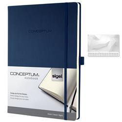 Sigel Concept Notebook Hardcover Lined 80gsm 194pp PEFC A4 Blue Ref CO647 - FREE Sigel Paper Desk Pad