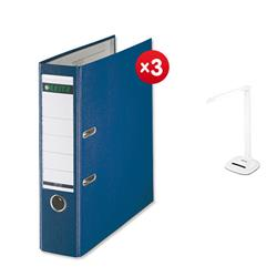 Leitz Lever Arch File Plastic 80mm Spine A4 Blue Ref 10101035 [Pack 10] - x3 + FREE Rexel Activita Strip Day Lamp