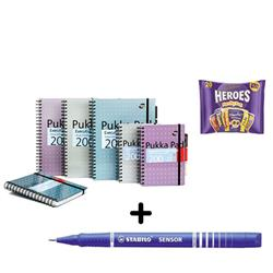 Pukka Pad Executive Project Book A5 [Pack 3] & Stabilo Fineliner Pen Blue [Pack 10] - Bundle Offer + FREE Cadbury Heroes Bag 278g