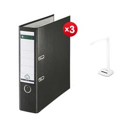 Leitz Lever Arch File Plastic 80mm Spine A4 Black Ref 10101095 [Pack 10] - x3 + FREE Rexel Activita Strip Day Lamp