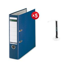 Leitz Lever Arch File Plastic 80mm Spine A4 Blue Ref 10101035 [Pack 10] - x5 + FREE Rexel Activita Strip+ Day Lamp