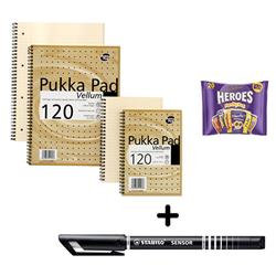 Pukka Pad Vellum Notebook A4 [Pack 3] & Stabilo Fineliner Pen Black [Pack 10] - Bundle Offer + FREE Cadbury Heroes Bag 278g
