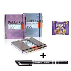 Pukka Pad Project Book A4 [Pack 3] & Stabilo Fineliner Pen Black [Pack 10] - Bundle Offer + FREE Cadbury Heroes Bag 278g