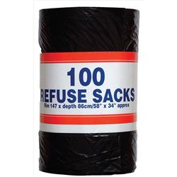 Robinson Young Big Value Refuse Sacks 52 Gauge 92 litres 450 x 864 mm Ref RY00365 (Pack 100)
