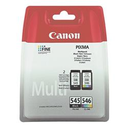 Canon PG-545 / CL-546 (Black/Colour - B/C/M/Y) Ink Cartridge (Yield 180 Pages) Blister with Security for Pixma MG2250, MG2450, MG2550
