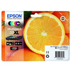 Epson Oranges 33XL (Black 12.2 ml + Photo Black 8.1 ml + Cyan, Magenta, Yellow 8.9 ml) Multipack Ink Cartridges