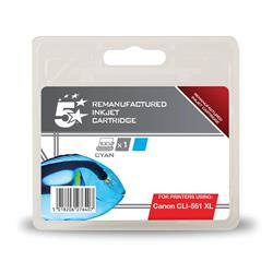 5 Star Office Remanufactured Inkjet Cartridge [Canon CLI-551 XL Alternative] Cyan