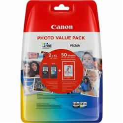 Canon 540XL/541XL Inkjet Cartridge 600pp Black 400pp Col 50 Sheets 4x6 Photo Paper Ref 5222B013 [Pack 2]